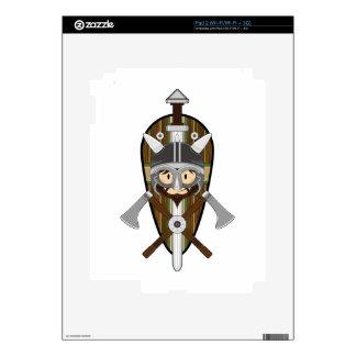 Cartoon Viking Warrior and Shield iPad 2 Decals