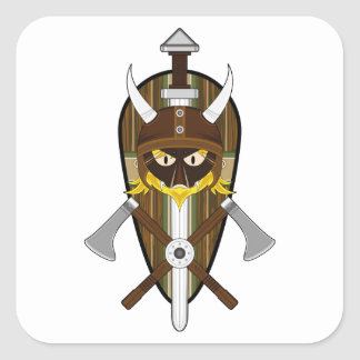 Cartoon Viking Warrior and Shield Square Sticker