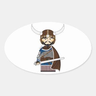 Cartoon Viking Warrior Oval Sticker