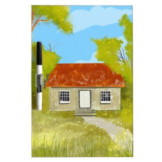 cartoon village house Dry Erase Board