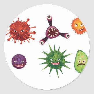 Cartoon Viruses Classic Round Sticker
