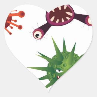 Cartoon Viruses Heart Sticker