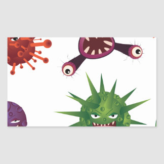Cartoon Viruses Rectangular Sticker