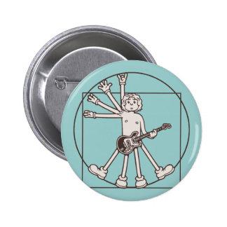 Cartoon Vitruvian Rocker Pinback Button
