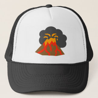 Cartoon Volcano Erupting Lava and Smoking Trucker Hat