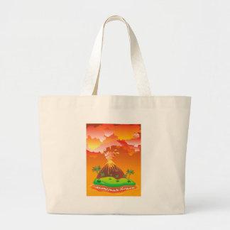 Cartoon Volcano Eruption 2 Large Tote Bag