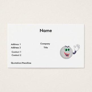 cartoon volleyball character waving business card