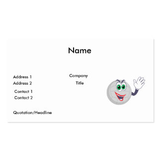 cartoon volleyball character waving Double-Sided standard business cards (Pack of 100)