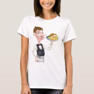 Cartoon Waiter Butler Holding Kebab and Fries T-Shirt