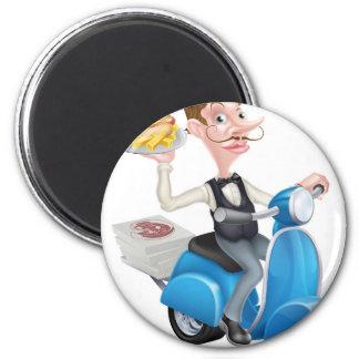 Cartoon Waiter on Scooter Moped Delivering Hotdog Magnet