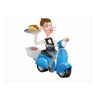 Cartoon Waiter on Scooter Moped Delivering Shawarm Postcard