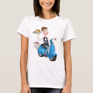 Cartoon Waiter on Scooter Moped Delivering Shawarm T-Shirt