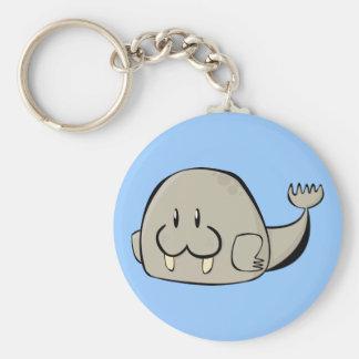 Cartoon Walrus Basic Round Button Keychain