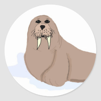 Cartoon Walrus Classic Round Sticker
