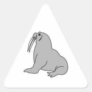 Cartoon Walrus Triangle Sticker