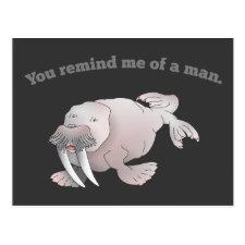 Cartoon walrus, you remind me of a man postcards