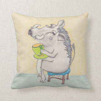 Cartoon warthog drinking a cup of tea pillow