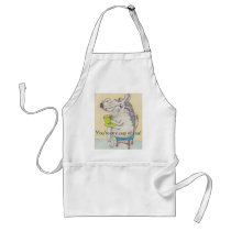 Cartoon Warthog sipping tea apron