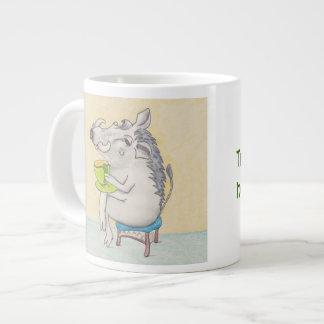 Cartoon Warthog sipping tea Jumbo Mugs
