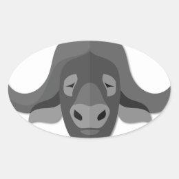 Cartoon Water Buffalo Oval Sticker