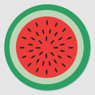 Cartoon Watermelon Slice Bright Red & Green Classic Round Sticker