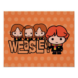 Cartoon Weasley Siblilings Graphic Poster