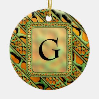 Cartoon Webby Stripes Ceramic Ornament