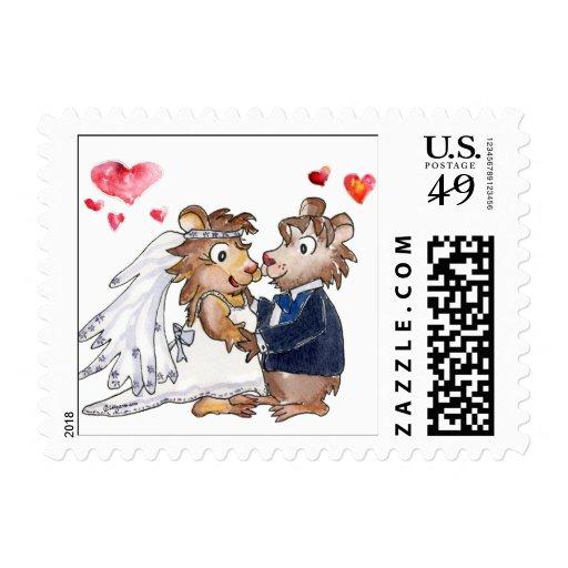 Cartoon Wedding Couple Postage Stamps