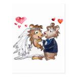 Cartoon Wedding Couple Postcard