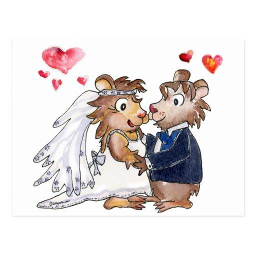 Cartoon Wedding Couple Postcards