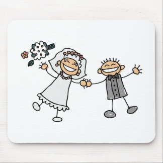 Cartoon Wedding Happy Couple Bride Groom Mouse Pad