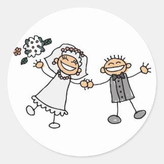 Cartoon Wedding Round Sticker