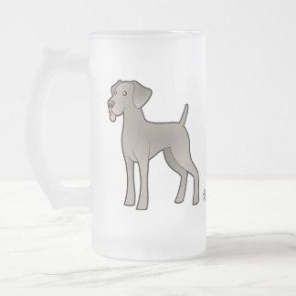 Cartoon Weimaraner Frosted Glass Beer Mug