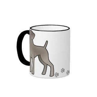 Cartoon Weimaraner Ringer Coffee Mug