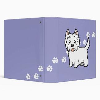 Cartoon West Highland White Terrier 3 Ring Binder