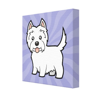 Cartoon West Highland White Terrier Canvas Print
