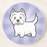 Cartoon West Highland White Terrier Coasters