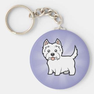 Cartoon West Highland White Terrier Basic Round Button Keychain