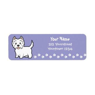 Cartoon West Highland White Terrier Label