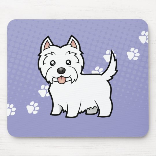 Cartoon West Highland White Terrier Mouse Pad