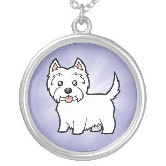 Cartoon West Highland White Terrier Round Pendant Necklace
