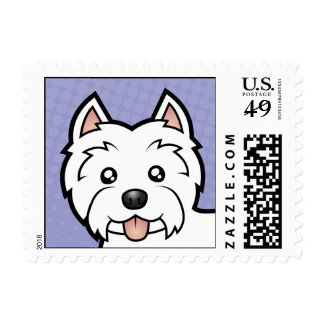 Cartoon West Highland White Terrier Postage