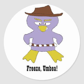 Cartoon Western Penguin Classic Round Sticker