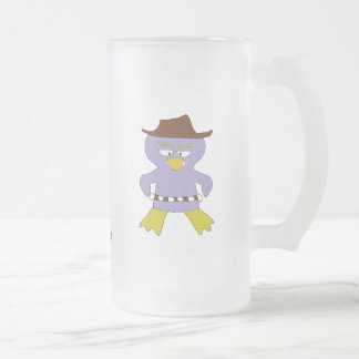 Cartoon Western Penguin 16 Oz Frosted Glass Beer Mug