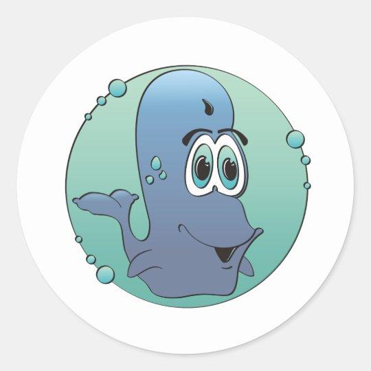 Cartoon Whale Classic Round Sticker