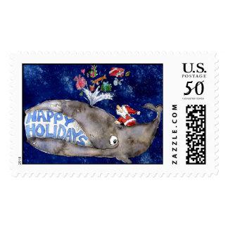 Cartoon Whale Happy Holidays Custom Postage Stamp