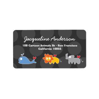 Cartoon Whale Lion Rhinoceros Address Labels
