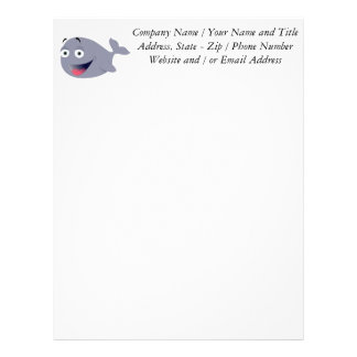 Cartoon Whale, Sea Mammal Letterhead