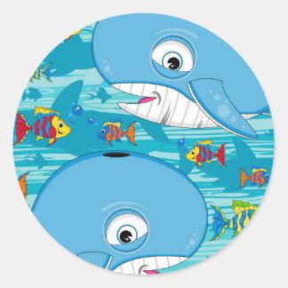 Cartoon Whale & Tropical Fish Pattern Classic Round Sticker