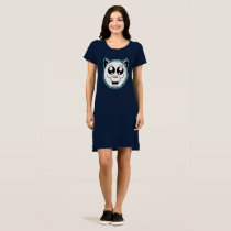 Cartoon White Cat Head Shirt Dress